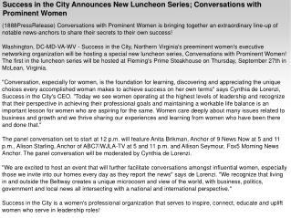 Success in the City Announces New Luncheon Series; Conversat