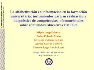 La alfabetizaci n en informaci n en la formaci n universitaria: instrumentos para su evaluaci n y diagn stico de compete