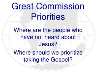 Great Commission Priorities