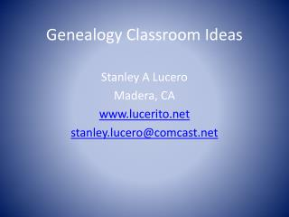 Genealogy Classroom Ideas
