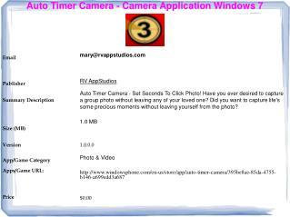 Auto Timer Camera - Camera Application Windows 7