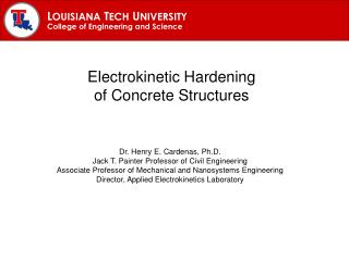 Electrokinetic Hardening of Concrete Structures