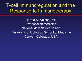 T-cell Immunoregulation and the Response to Immunotherapy