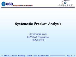 Systematic Product Analysis