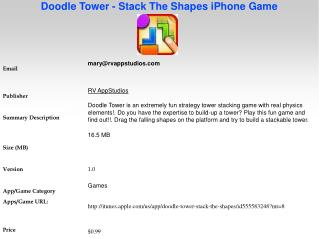 Doodle Tower - Stack The Shapes iPhone Game