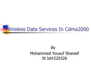 Wireless Data Services In Cdma2000