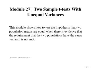 Module 27:  Two Sample t-tests With Unequal Variances
