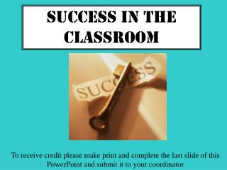 Success IN the Classroom