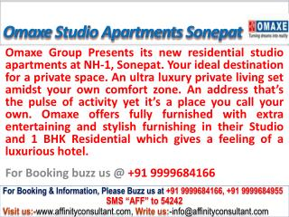 09999684166 Omaxe City New 1BHK Studio Apartments Sonepat
