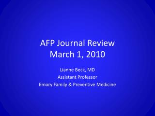 AFP Journal Review March 1, 2010