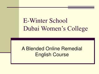E-Winter School Dubai Women s College