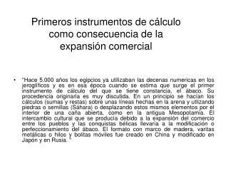 Primeros instrumentos de c lculo como consecuencia de la expansi n comercial