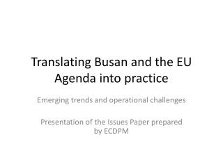 Translating Busan and the EU Agenda into practice