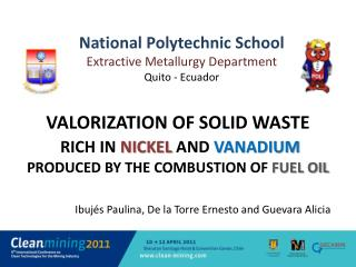 Valorization of solid waste  rich in nickel and vanadium  produced by the combustion of fuel oil