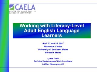 Working with Literacy-Level Adult English Language Learners