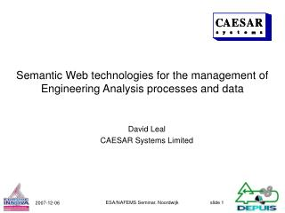Semantic Web technologies for the management of Engineering Analysis processes and data