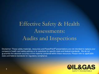 Effective Safety  Health Assessments: Audits and Inspections