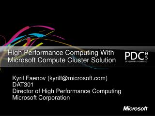 High Performance Computing With Microsoft Compute Cluster Solution