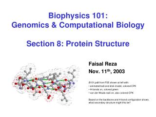 Biophysics 101: Genomics  Computational Biology  Section 8: Protein Structure