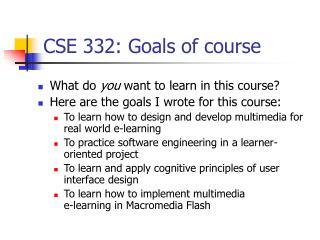 CSE 332: Goals of course
