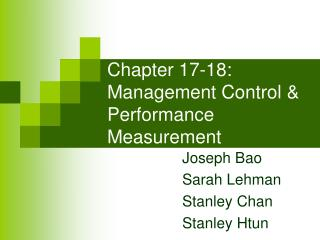 Chapter 17-18: Management Control  Performance Measurement