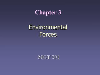 Chapter 3    Environmental Forces