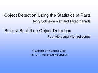Object Detection Using the Statistics of Parts
