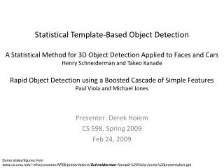 Statistical Template-Based Object Detection  A Statistical Method for 3D Object Detection Applied to Faces and Cars Henr