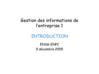 Gestion des informations de l entreprise 1  INTRODUCTION
