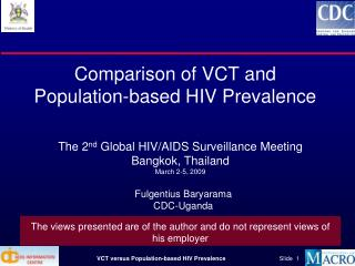 Comparison of VCT and Population-based HIV Prevalence