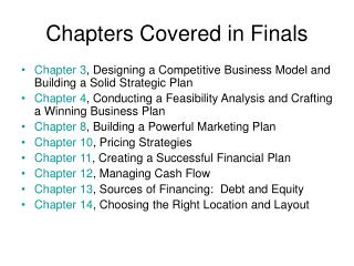Chapters Covered in Finals