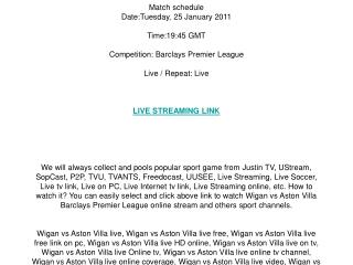 Wigan vs Aston Villa live streaming online on your PC / Tues