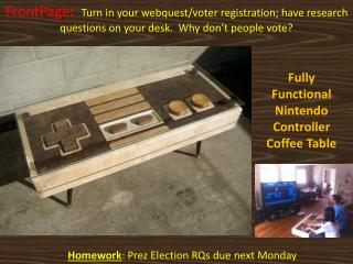Homework: Prez Election RQs due next Monday