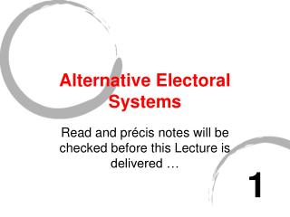 Alternative Electoral Systems