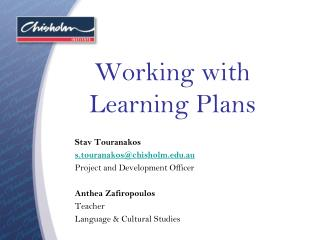 Working with Learning Plans