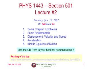 PHYS 1443   Section 501 Lecture 2