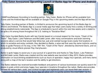 Toby Eaton Announces Upcoming Launch of Barbo App for iPhone