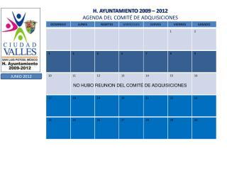 H. AYUNTAMIENTO 2009   2012 AGENDA DEL COMIT  DE ADQUISICIONES