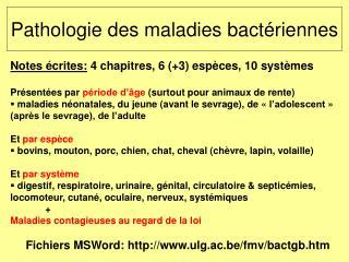 Pathologie des maladies bact riennes