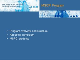 MSCPI Program