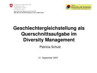 Geschlechtergleichstellung als Querschnittsaufgabe im Diversity Management