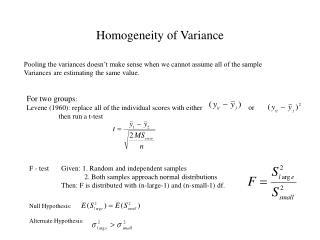 Homogeneity of Variance