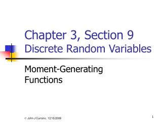 Chapter 3, Section 9 Discrete Random Variables