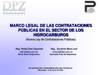 MARCO LEGAL DE LAS CONTRATACIONES P BLICAS EN EL SECTOR DE LOS HIDROCARBUROS  Nueva Ley de Contrataciones P blicas