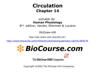 Circulation Chapter 14  extra do de:  Human Physiology 8nd. edition, Vander, Sherman  Luciano  McGraw-Hill