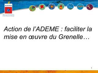 Action de l ADEME : faciliter la mise en  uvre du Grenelle