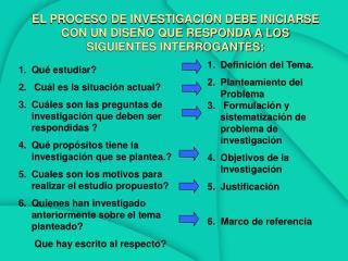EL PROCESO DE INVESTIGACI N DEBE INICIARSE CON UN DISE O QUE RESPONDA A LOS SIGUIENTES INTERROGANTES: