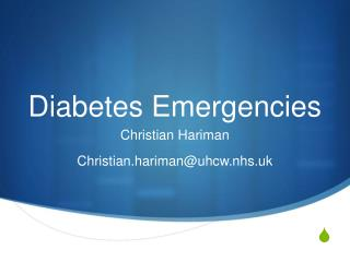 Diabetes Emergencies
