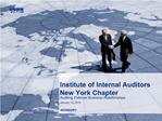 Institute of Internal Auditors New York Chapter Auditing External Business Relationships January 15, 2010