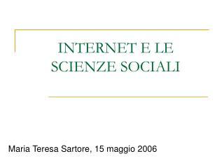 INTERNET E LE SCIENZE SOCIALI